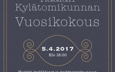 Raalan kylätoimikunnan vuosikokous 5.4.2017